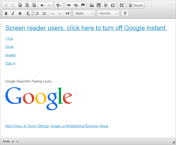 Copy-pasting the Google homepage in CKEditor