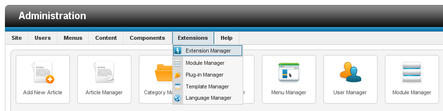 Access the Extension Manager in Joomla! 2.5