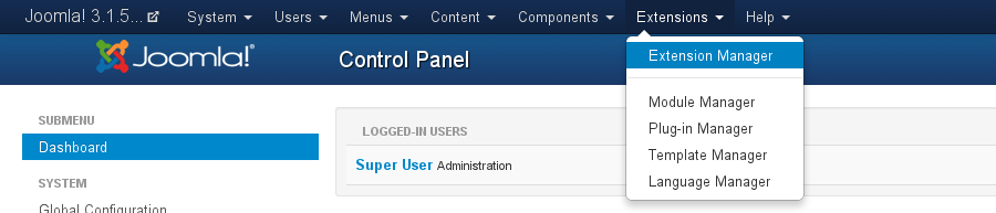 Access the Extension Manager in Joomla! 3