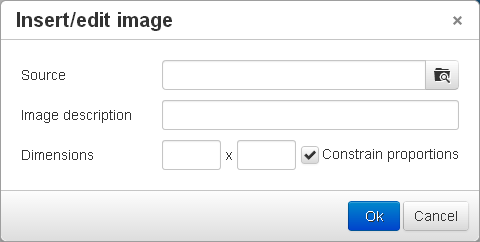 Inserting an image using TinyMCE
