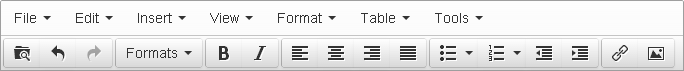 The TinyMCE toolbar